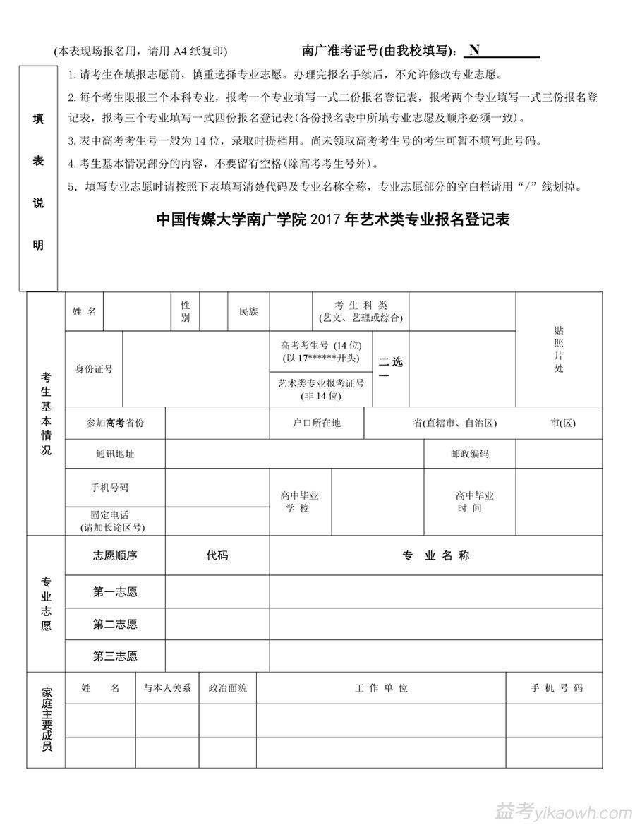 中国传媒大学南广学院2017年艺术类招生简章