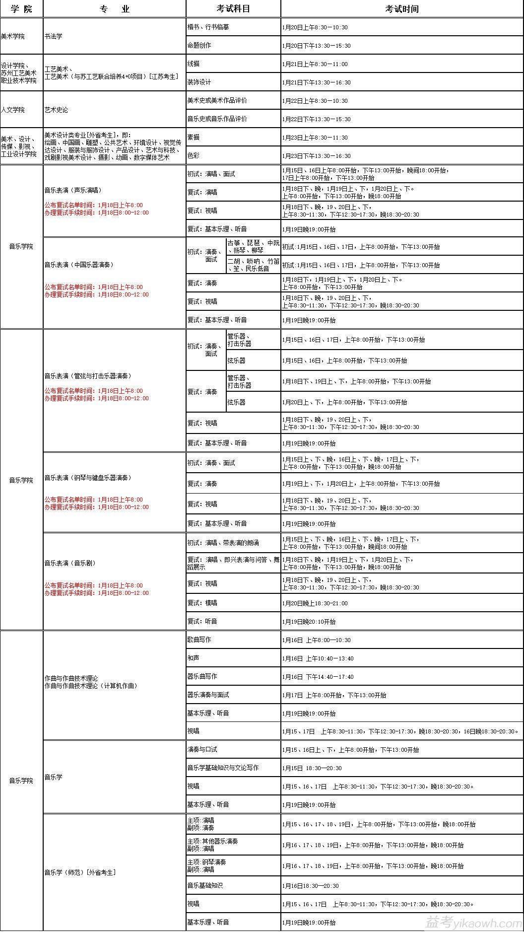 南京艺术学院2018年本科招生校内考点各专业考试时间安排表